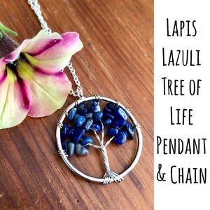 Lapis Lazuli Necklace Tree of Life Pendant Chain
